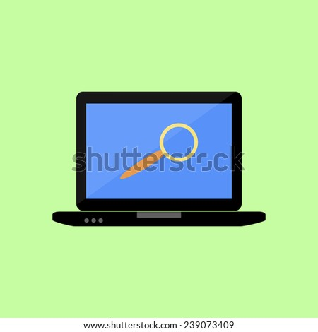 Laptop with magnifying glass as search icon in flat style