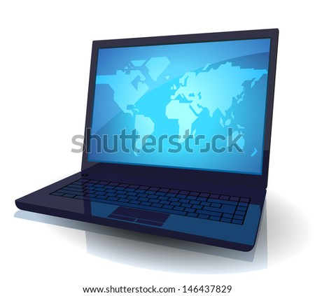 Laptop with map of the World on blue screen. Raster version. Vector version is also available.
