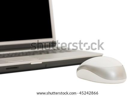 Laptop with mouse isolated on the white background