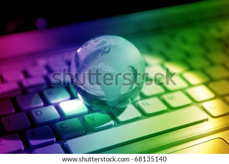 laptop with net cable - stock photo