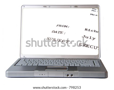 laptop with office memo on screen