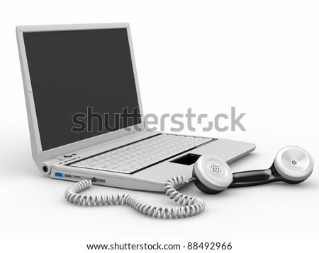 Laptop with old-fashioned phone reciever on white background. 3d - stock photo