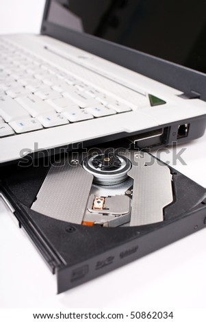 Laptop with open CD tray