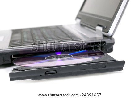 Laptop with opened DVD tray