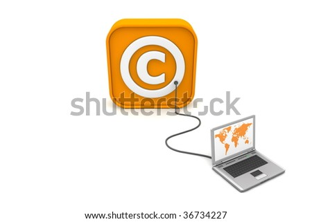 laptop with orange world map connected with an orange cable to the orange 3D RSS like Copyright symbol - front view - stock photo
