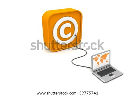 laptop with orange world map connected with an orange cable to the orange 3D RSS like Copyright symbol - angled view - stock photo