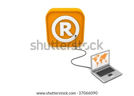 laptop with orange world map connected with an orange cable to the orange 3D RSS like Registered Trademark symbol - front view - stock photo