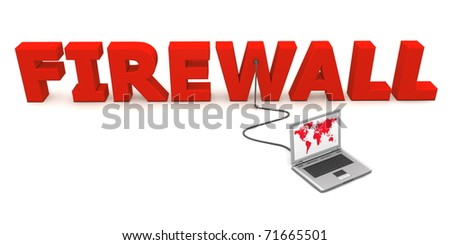 laptop with red worldmap connected to the red 3D word FIREWALL - stock photo