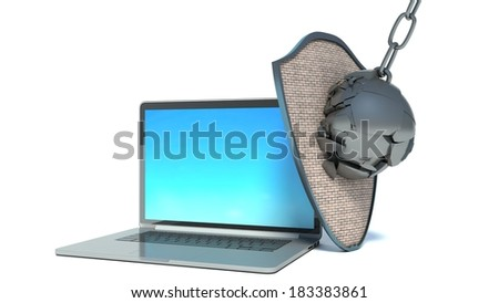 laptop with shield - internet security, anti virus or firewall - stock photo