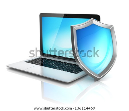 laptop with shield - internet security, antivirus or firewall 3d concept - stock photo