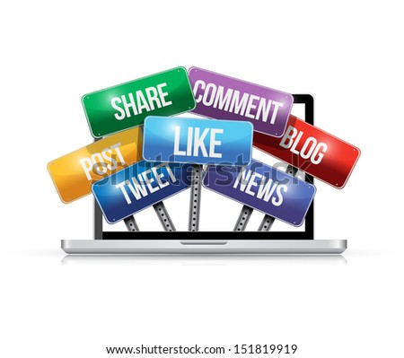 laptop with social media signs illustration design over a white background - stock photo