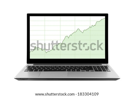 Laptop with stock charts. Clipping path included. - stock photo