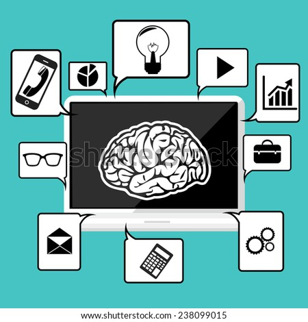 Laptop with symbol of brain surrounded speech bubble with office and business pictograms on blue background. Raster version - stock photo