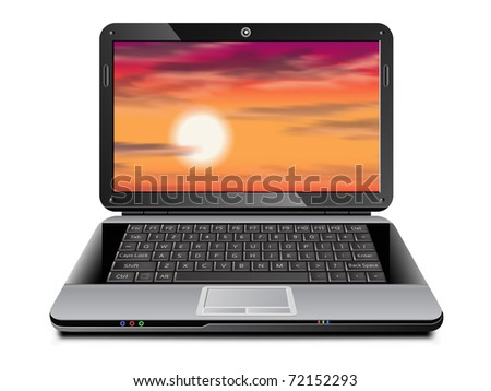 Laptop with tropical sunset background on the screen - stock photo