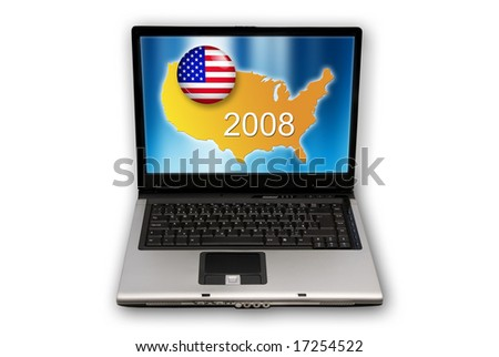 laptop with US presidential elections 2008 concept on screen - stock photo