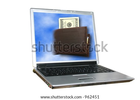 Laptop with wallet coming out from its screen