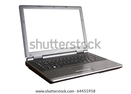 laptop with white screen - stock photo