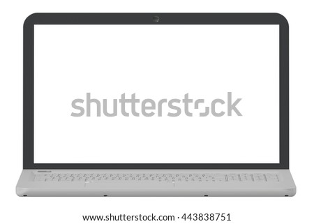 Laptop with white screen, 3D rendering isolated on white background