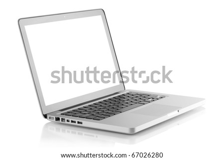 Laptop with white screen. Isolated on white background