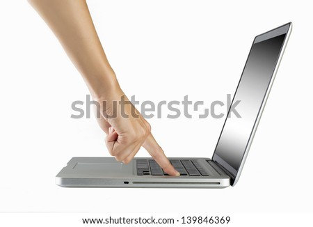 laptop with woman hand isolated on white background