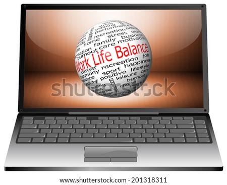 Laptop with Work Life Balance wordcloud - stock photo