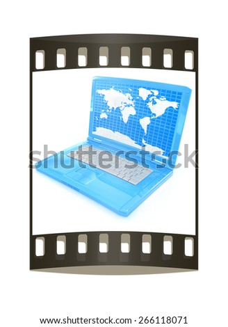 Laptop with world map on screen on a white background. The film strip - stock photo