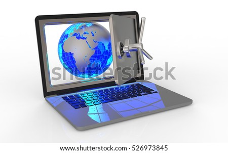 Laptop with world on white background 3D rendering