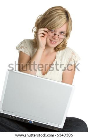 Laptop Woman - stock photo