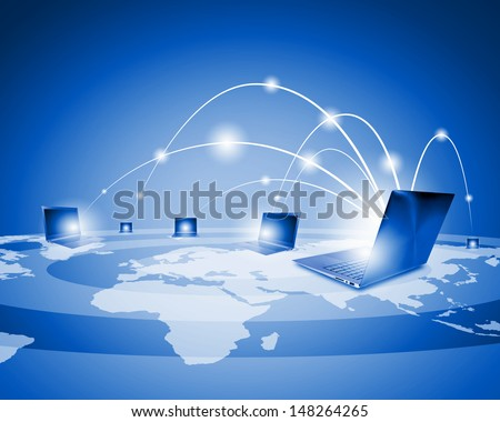 Laptops against globe blue illustration. Globalization concepts - stock photo