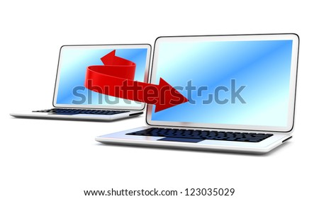 laptops and arrow isolated on white background. connection concept. 3d rendered image - stock photo