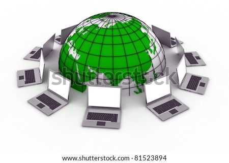 laptops around a green world connected on internet grid - stock photo