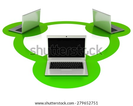 Laptops Connected. Network Connectivity Concept - stock photo