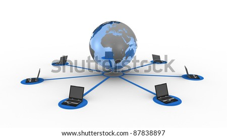 Laptops connected with blue earth - stock photo