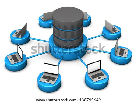 Laptops connected with database on the white background. - stock photo