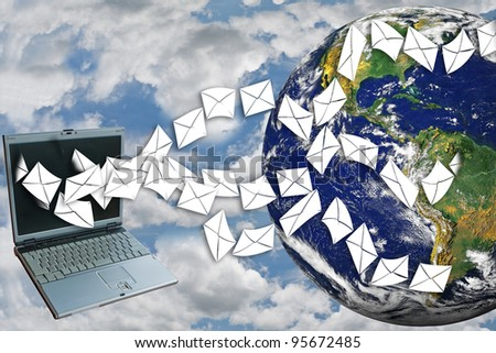 Laptops send email around the world on sky.(image of earth from NASA.) - stock photo