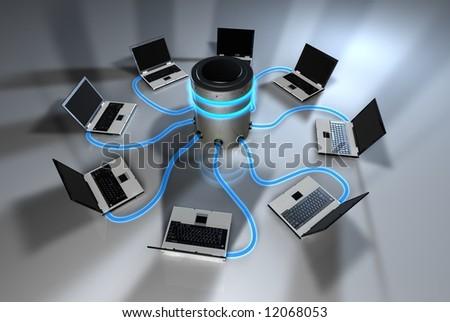 Laptops Sharing from Central Server - stock photo