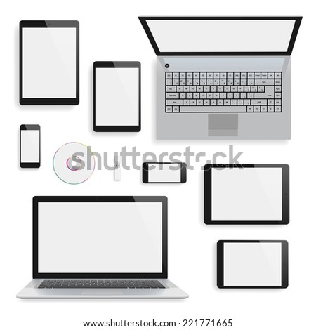 Laptops, tablets and smartphones blank mock-up. - stock photo