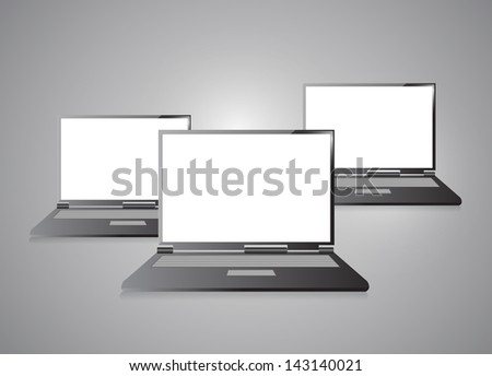 Laptops with blank screen isolated on grey