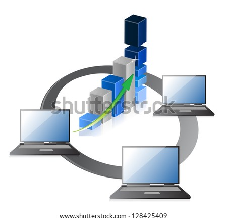 laptops with business or profits growth bar graph illustration design