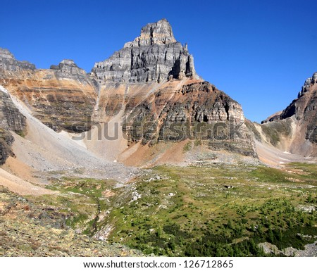 Larch Valley, Pinnacle and Sentinel Pass Lake Louise, Banff National Park, Alberta, Canada - stock photo