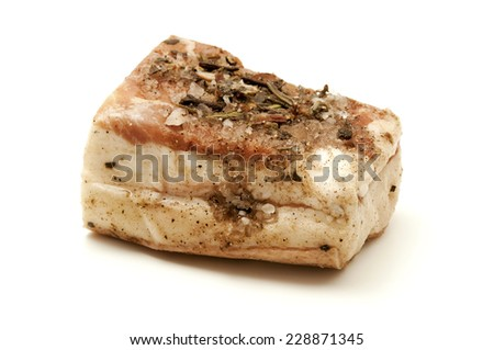 Lardo di Colonnata on a white background - stock photo