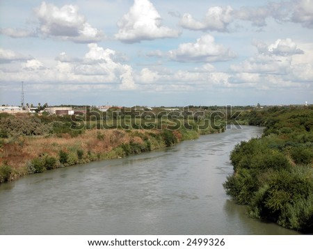 Laredo, Texas United States Mexico border - stock photo