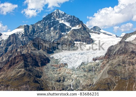 Large alpine glacier melting in the Swiss Alps - stock photo