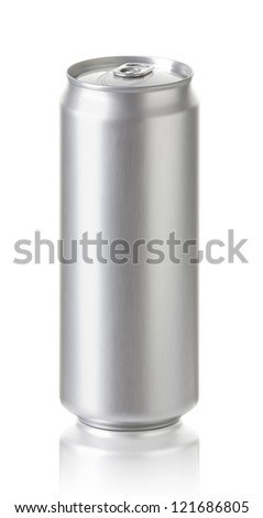 large aluminum cans  isolated on white background,  500 ml. blank soda or beer can with copy space,  Realistic photo image - stock photo