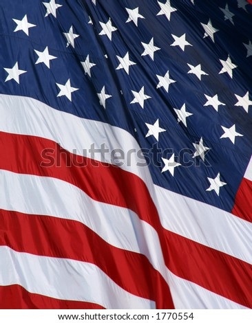 Large American Flag waving - stock photo