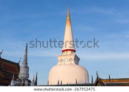Large ancient stu pa, Historic southern Thailand: Wat Phra Mahathat Woramahawihan. Nakhon Si Thammarat.  - stock photo