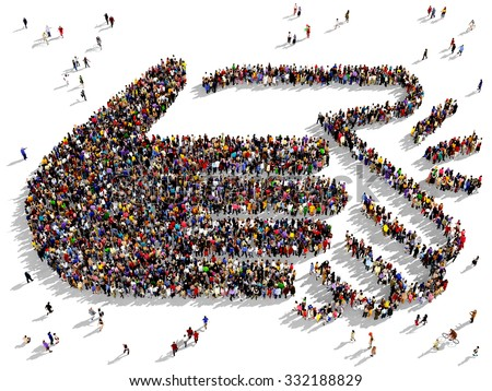 Large and diverse group of people gathered together in the shape of two hands clapping - stock photo