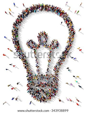 Large and diverse group of people seen from above gathered together in the shape of a light bulb, standing on a white background - stock photo