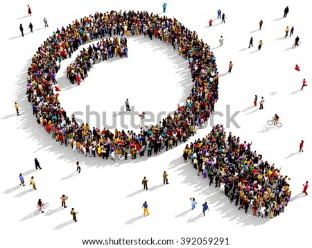 Large and diverse group of people seen from above gathered together in the shape of a magnifying glass - stock photo