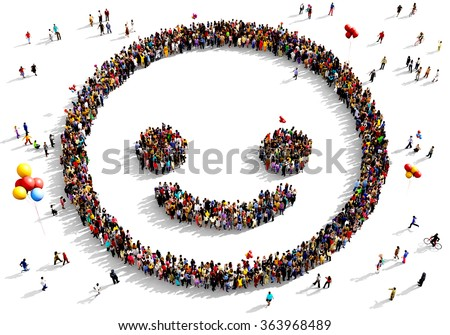 Large and diverse group of people seen from above gathered together in the shape of a smiling face - stock photo